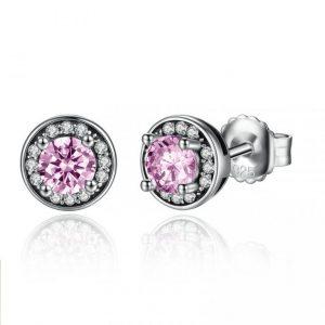 Aretes Glamour Rosa Brillante