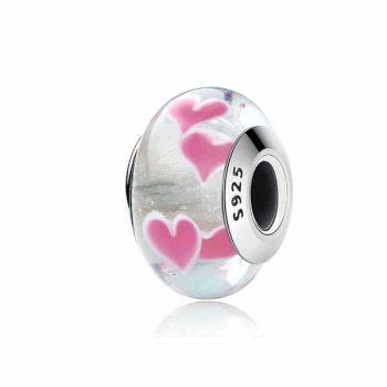 Pink Hearts Murano Glass