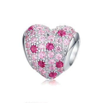Charms Corazón Destellos Rosa