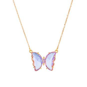 Collar Mariposa Multicolor Acero