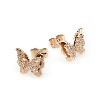 Aretes Mariposa Brillante Acero